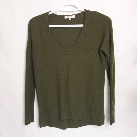 Madewell Sweaters - Madewell Green Wool Blend Scoop Neck Sweater - XXS